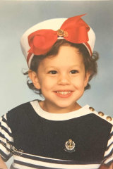 Ashley in her sailor's outfit, a favourite when she was about  five. A skort finished it off.