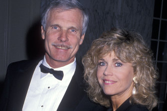 With third husband Ted Turner, for whom she gave up acting.