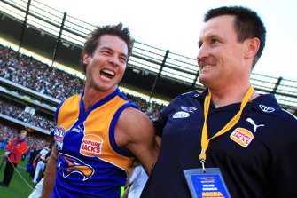 Ben Cousins and John Worsfold after the Eagles' premiership win in 2006.