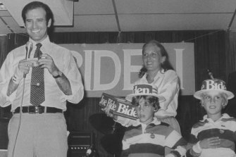 Joe Biden campaigns for the presidency in 1988 with his wife, Jill, and children, Hunter (left) and Beau.