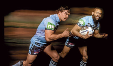 Fast lane: Speedsters James Roberts, left, and Josh Addo-Carr are part of a lightning-quick NSW backline.