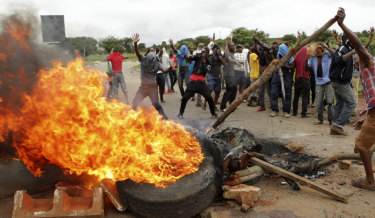 A protest against the rise in fuel prices in Harare.