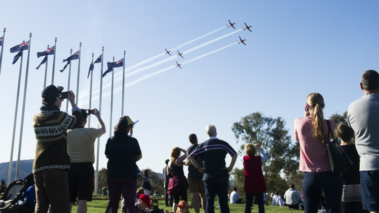 Hundreds turned out to watch the aerial display.