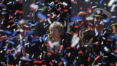 Britain's Prime Minister Theresa May during celebrations marking National Armed Forces Day in Llandudno, Wales, on Saturday June 30, 2018.