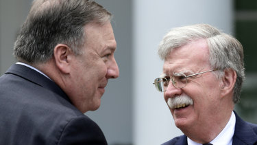 Leading Iran hawks in the Trump administration Mike Pompeo and John Bolton.