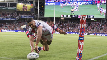 Healthy figure: A crowd of 41,142 attended the Anzac Day Cup match between the Dragons and Roosters at Allianz Stadium, won 24-8 by St George Illawarra.