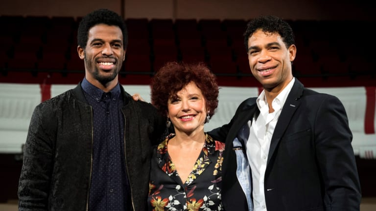 L-R: Yuli, directed by Iciar Bollain (centre), stars Keyvin Martinez (left) and Carlos Acosta (right).