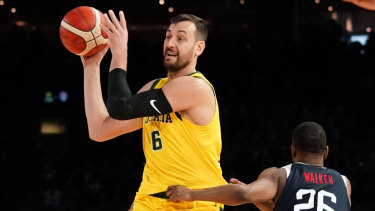 Boomers veteran Andrew Bogut starred against Team USA on Saturday.
