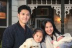 Sean and Jenny Huang and their children in front of their Armadale home which they hope to sell next Saturday.