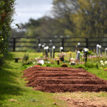 Pre-dug graves for COVID-19 deaths at Maker cemetery in Cornwall.