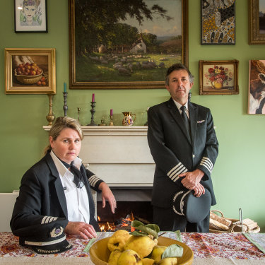 Tracey and Richard Haynes at home near Daylesford. Both  were laid off by Virgin Australia.