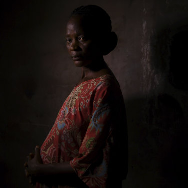 A pregnant Jose Bangamba, 30, has been captured and enslaved six to seven  times during the conflict in Kasai.