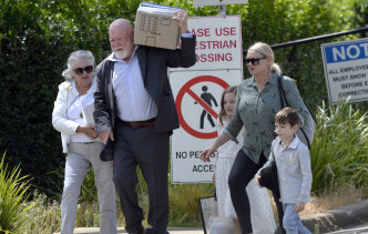 Former union boss John Maitland and his family leave Silverwater prison on Monday.