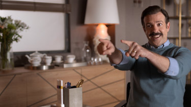 Jason Sudeikis as Ted Lasso in the eponymous TV comedy series.