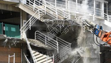 Heavy equipment: demolition work gets under way at Allianz Stadium this week.