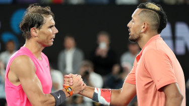 Nick Kyrgios lost a brilliant four-set encounter against Rafael Nadal during the 2020 Australian Open.