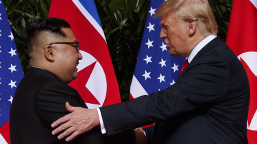 Kim one, Trump zero: The North Korean leader and US President in Singapore this year.
