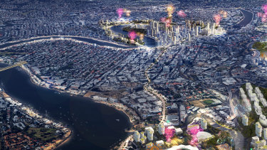 An artist's impression for urban planners Urbis, showing a bridge from Teneriffe to Bulimba/Hawthorne (at left).