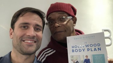 David Higgins and Samuel L Jackson with his book 'The Hollywood Body Plan'.