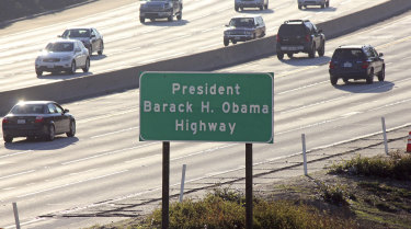 A section of a Los Angeles freeway has been named after Barack Obama. The former president attended Occidental College in Eagle Rock near the highway.