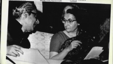 The Prime Minister of Bangladesh Sheikh Mujibur Rahman and Indian Prime Minister  Indira Gandhi discuss plans for economic cooperation between the two countries, in March, 1972.