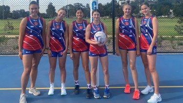 Members of the Westside Saints netball team in Melbourne, who swapped netball dresses for shorts and singlets.