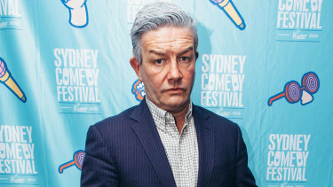 Is that you Malcolm? Lawrence Mooney at the Sydney Comedy Festival launch at the Sydney Opera House on Monday.