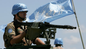 An Italian soldier arrives in the Lebanese port city of Tyre on a UN peacekeeping mission in 2006.