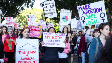 Protesters in Sydney last month ... an abortion reform bill with multi-party support will be introduced this week.