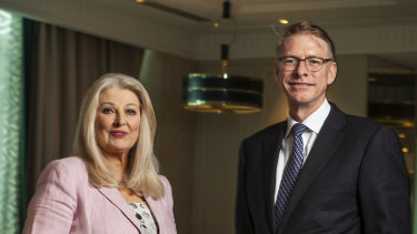 Crown's newly installed chairwoman and CEO, Helen Coonan and Ken Barton.
