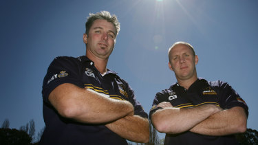 Coleman (left) during his time in Canberra as coach of the Brumbies academy.