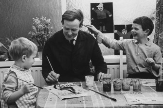 An artistic moment in 1964: John Le Carre with Stephen (left) and Simon Cornwell.