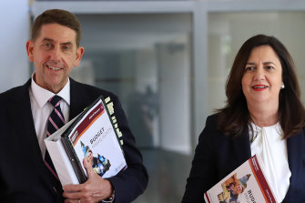 Treasurer Cameron Dick – pictured with Premier Annastacia Palaszczuk – says Scott Morrison's comments that international borders may stay closed indefinitely will force a rethink on Queensland's budget.