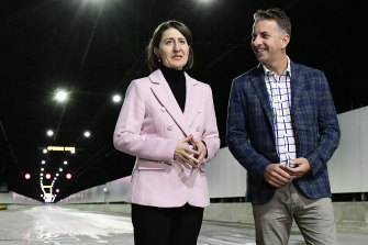 NSW Premier Gladys Berejiklian and Minister for Transport and Roads Andrew Constance have overseen the construction of the light rail line.