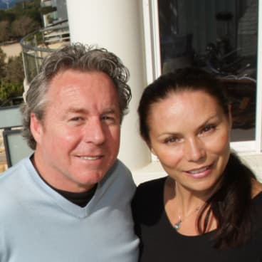 Wayne Gardner with his second wife, Toni Atkinson,  at their Manly home in 2007.