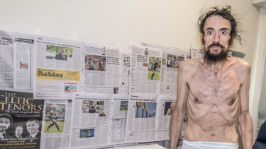 Isa Islam, pictured on the 79th day of his hunger strike, spent some time in intensive care before once again coming to the attention of police