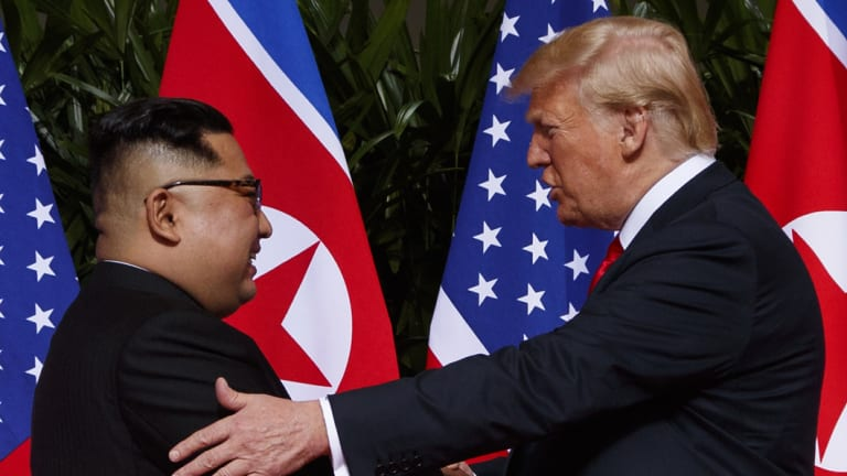 North Korean leader Kim Jong-un and US President Donald Trump in Singapore, on June 12.