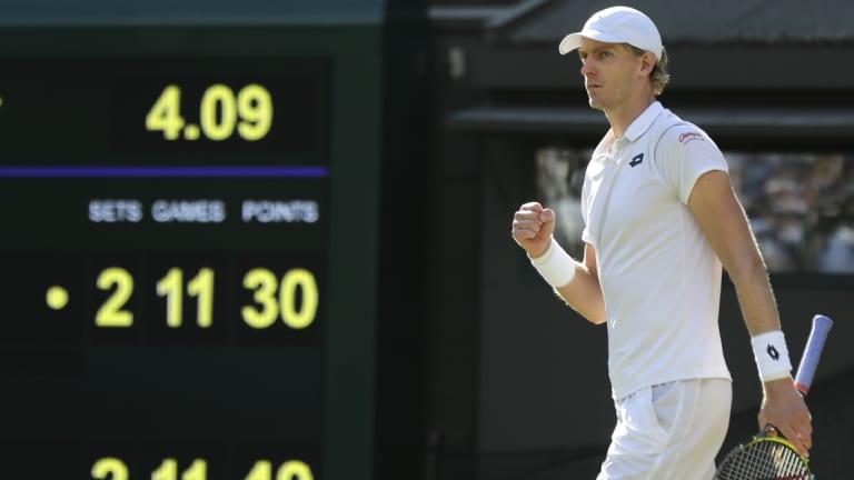 Damned with faint praise: Kevin Anderson celebrates winning his men's quarter-final match against Roger Federer.