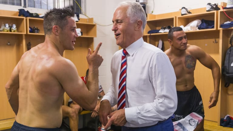 Meeting of the minds: Rugby league player Cooper Cronk discussing economic policy with Malcolm Turnbull.