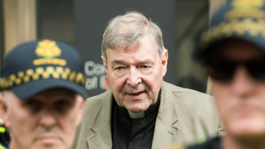 Cardinal George Pell leaving the County Court where was found guilty of historic sexual offenses.