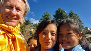 Neill Johanson with pupils from the remote Garma school.