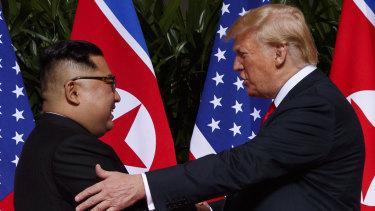 US President Donald Trump meets with North Korean leader Kim Jong-un on Sentosa Island in Singapore, on June 12.