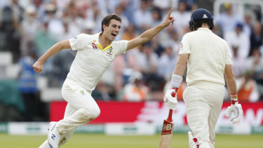 Pat Cummins after getting rid of Joe Root for a golden duck on day four at Lord's.