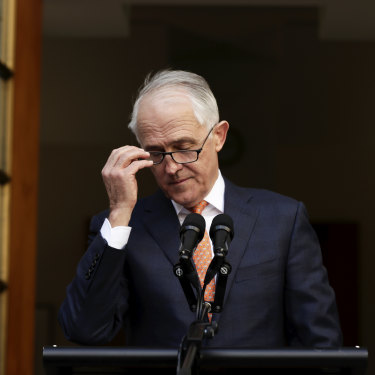 Malcolm Turnbull addresses the media after the party room meeting for the leadership spill on Friday, August 24, 2018.