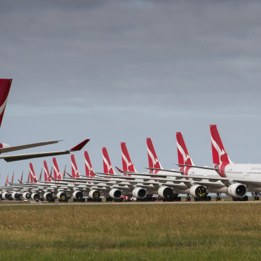 Qantas planes grounded in April.
