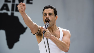 Rami Malek as Freddie Mercury in Bohemian Rhapsody, the only top 10 grossing film in 2018 that wasn't a sequel or part of a franchise.
