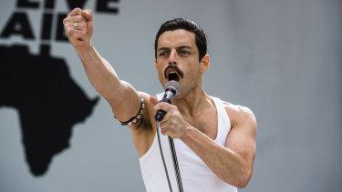 Rami Malek as Freddy Mercury in Bohemian Rhapsody.
