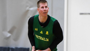 Brock Motum of the Australian Boomers squad during a training session at Melbourne Sports and Aquatic Centre in August.