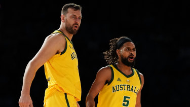 Andrew Bogut (left) and Patty Mills during last week's breakthrough victory over the US.