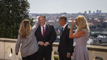 US Secretary of State Mike Pompeo, his wife Susan Pompeo (left), Prime Minister of the Czech Republic Andrej Babis (right) and and his wife Monika Babis pose in Prague, Czech Republic.